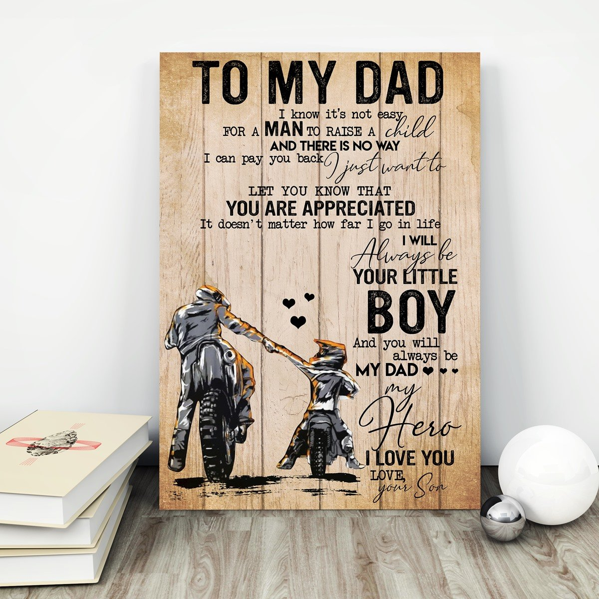 Biker poster - To my dad to my mom I love you gifts from son daughter - GST