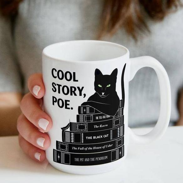 Gifts for cat lovers book lovers - Black cat with books cool story - GST