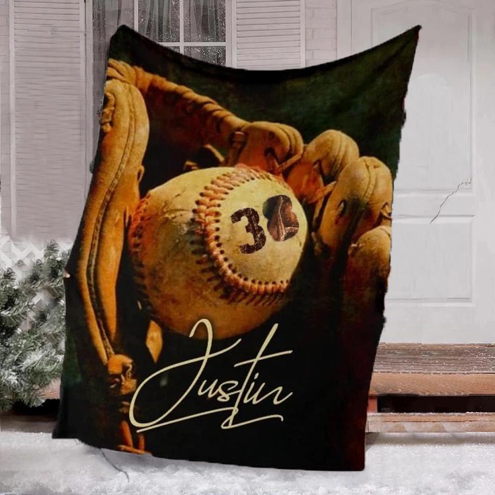 Baseball custom name and number blanket for baseball lovers