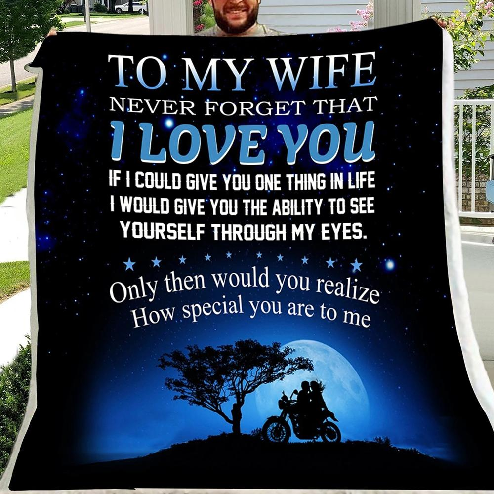 G-Biker blanket - To my wife - I love you, valentine gift for my wife, gift ideas for my wife, best gift ideas for wife, valentine gift for the wife, birthday gift ideas for wife, best valentine gifts for wife