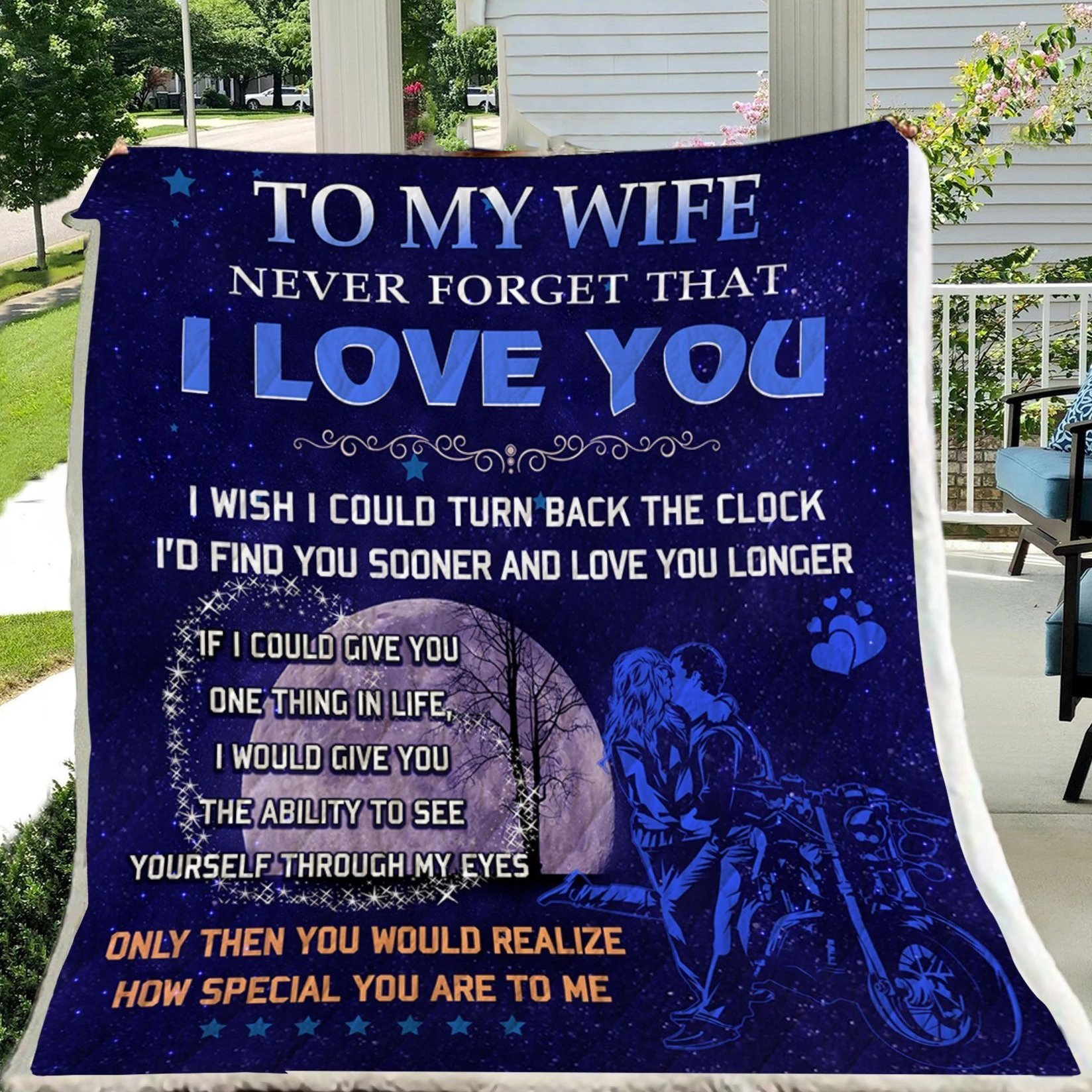 G- Biker blanket - To my wife - I love you, gift ideas for women, best gift for wife 2020, birthday gift ideas for wife, best gift for wife on her birthday, unique gift ideas for wife, thoughtful valentine gifts for wife, unique gifts for wife