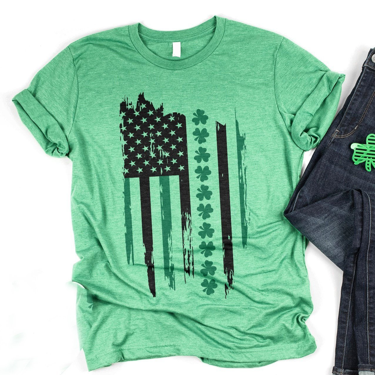 G2 St. patrick's day irish american flag vintage shamrock t-shirt GST