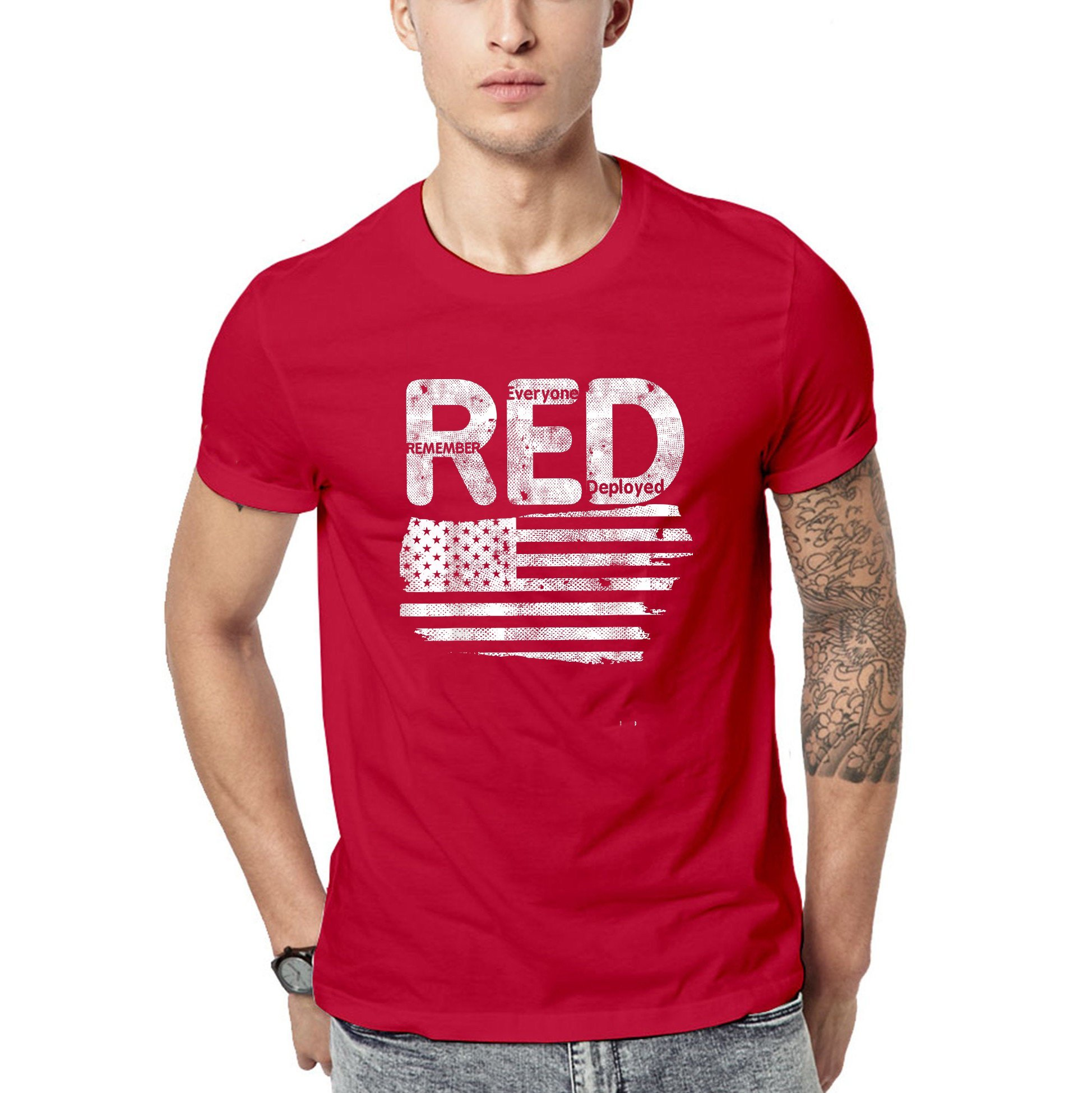 Red friday - US flag remember everyone veteran deployed red friday t-shirt - GST