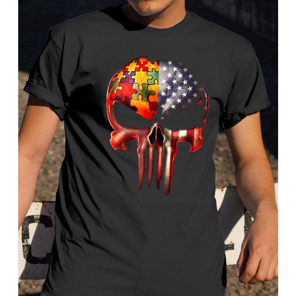 Autism skull american flag autism awareness shirt GST